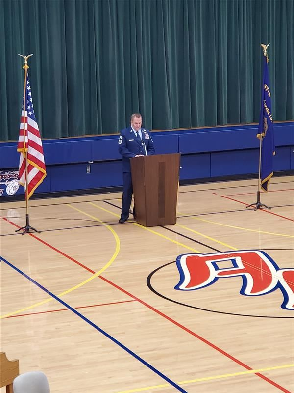 Former Teacher and Recently Retired Master Chief Tim Ireland gave the Veteran's Day Speech in Aurelia today!!